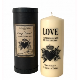 TATTOOED PILLAR CANDLE CARMEN - IVORY